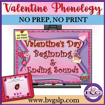 Valentine's Beginning and Ending Sounds CVC Digital or Speech Teletherapy