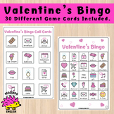Valentine's Day Bingo - 30 Game Cards Included