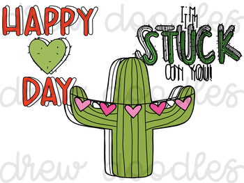 Valentine's Cacti Digital Clip Art Set- Color and Black Line COMBO
