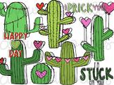 Valentine's Cacti Digital Clip Art Set- Color and Black Li