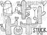 Valentine's Cacti Digital Clip Art Set- Black Line Version