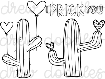 Valentine's Cacti Digital Clip Art Set- Black Line Version