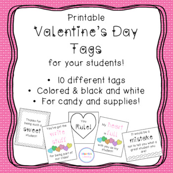 Valentine's Candy and Supply Gift Tags