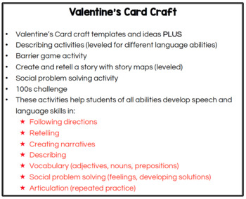 Valentine's Card Craft for Speech Therapy