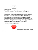 Valentine's Card Exchange Letter