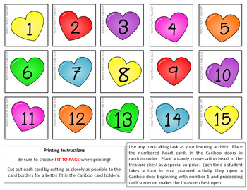 Valentine's Cariboo Cards for Any Activity - FREE