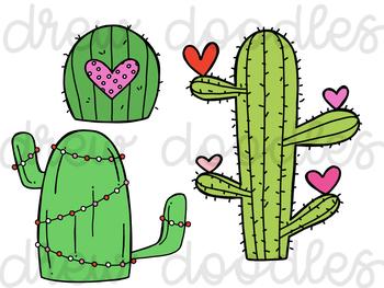 Valentine's Cacti Digital Clip Art Set