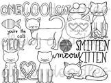 Valentine's Cats Digital Clip Art Set- Black Line Version