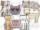 Valentine's Cats Digital Clip Art Set- Color and Black Line COMBO