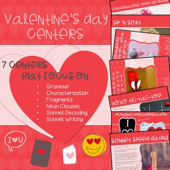 Valentine's Day Centers for Middle and High School English