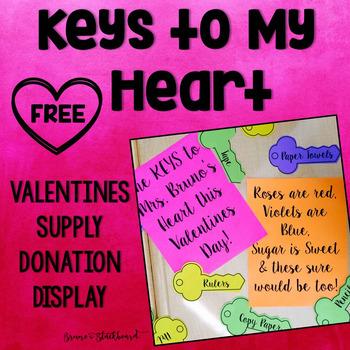 Valentine's Classroom School Supplies Donation Display