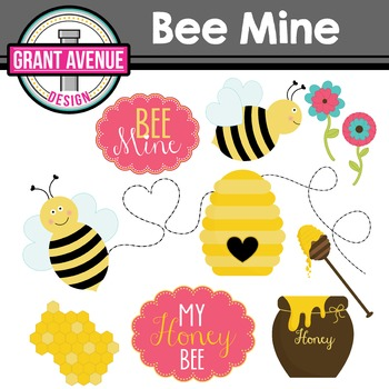 Valentine's Clipart - Bee Mine Valentine's Day Clipart
