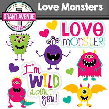 Valentine's Clipart - Love Monsters Valentine's Day Clipart