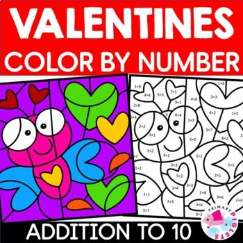 Color by Number Addition Valentines Sums to 10