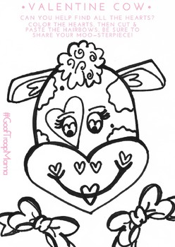 Valentine's Coloring Heart Cut & Paste
