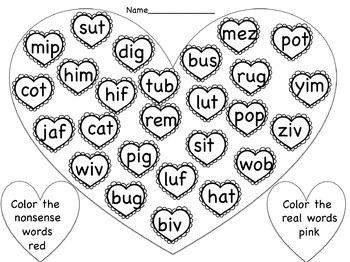 Valentine's Coloring Nonsense Words