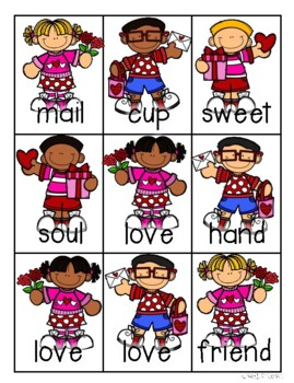 Valentine's Day Kiddos and Hearts Compound Words Match