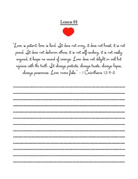 God's Love for Us--- Valentine's Copywork from the Scripture