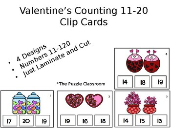 Valentine's Counting 11-20 Task Cards