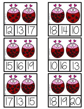 Valentine's Counting Clip Cards FREEBIE