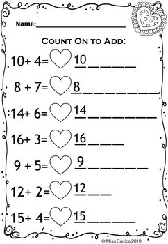 Valentine's Counting On Worksheets