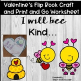 """Valentine's Day Craft """" Flip book""""  Math and Literacy Print and Go"""
