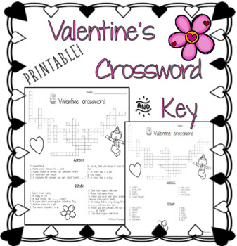 picture about Valentine Crossword Puzzles Printable named Valentines Crossword Puzzle with Principal Printable PDF
