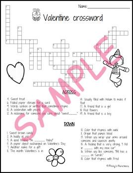 Valentine's Crossword Puzzle with KEY Printable PDF