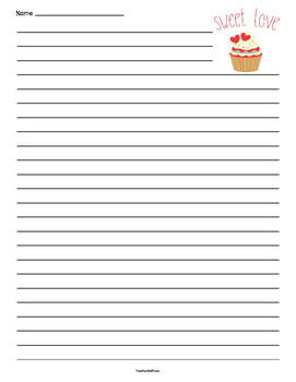 Valentine's Cupcake Lined Paper