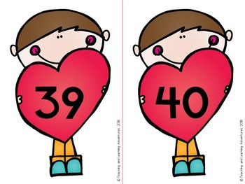 Valentine's Day 1-100 number flash cards
