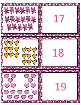 Valentine's Day 1-20 Matching Cards