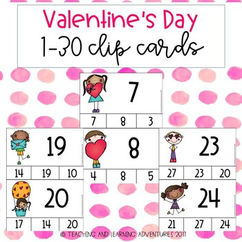 Valentine's Day 1-30 number clip cards