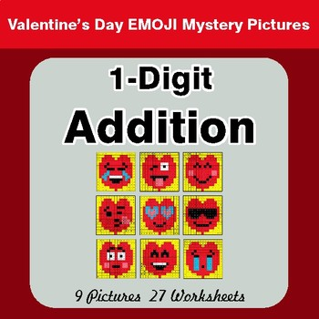 Valentine's Day: 1-Digit Addition - Color-By-Number Mystery Pictures