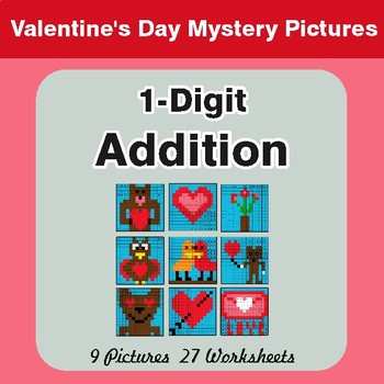 Valentine's Day: 1-Digit Addition - Color-By-Number Math Mystery Pictures