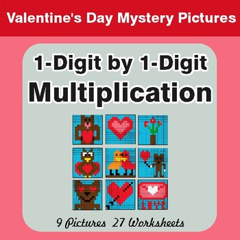 Valentine's Day: 1-Digit Multiplication - Color-By-Number Math Mystery Pictures