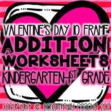 Valentine's Day 10 Frame Addition Worksheets