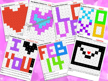 Valentine's Day 100s Grid Mystery Picture Puzzles