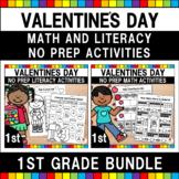 Valentine's Day 1st Grade No Prep Language Arts & Math Bundle