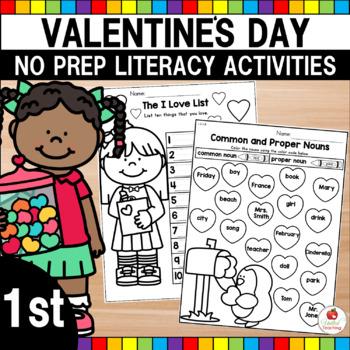 Valentine's Day 1st Grade No Prep Language Arts Worksheets