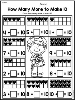 valentine 39 s day math worksheets 1st grade by united teaching tpt. Black Bedroom Furniture Sets. Home Design Ideas
