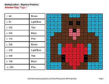 2-Digit by 1-Digit Multiplication - Valentine's Math Mystery Pictures