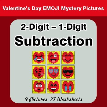 Valentine's Day: 2-Digit - 1-Digit Subtraction - Math Mystery Pictures