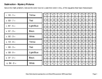 Valentine's Day: 2-Digit - 1-Digit Subtraction - Mystery Pictures