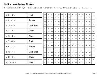 2-Digit - 1-Digit Subtraction - Valentine's Math Mystery Pictures