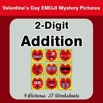 Valentine's Day: 2-Digit Addition - Color-By-Number Mystery Pictures