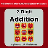 2-Digit Addition - Color-By-Number Valentine's Math Mystery Pictures