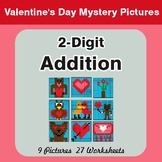 Valentine's Day: 2-Digit Addition - Color-By-Number Myster