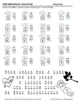 Valentine's Day Math: 2-Digit Addition & Subtraction - Crack the Code
