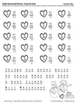 Valentine's Day Math Practice: 2-Digit Addition & Subtraction - Crack the Code