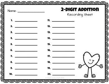 Valentine's Day 2-Digit Addition With Regrouping Task Cards